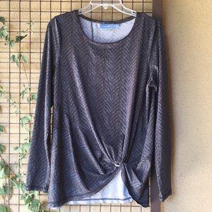 3/$20{Simply Vera-Vera Wang}Sz L Blue/Gray Top